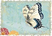 Flying butterfly on a blue retro styled background with silhouettes of plants. All objects are isola