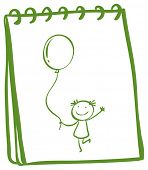 Illustration of a notebook with a sketch of a young girl with a balloon on a white background