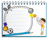 Illustration of a notebook with a drawing of a boy playing basketball on a white background