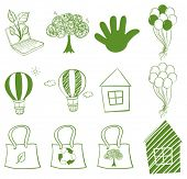 Illustration of the Eco-friendly drawings on a white background