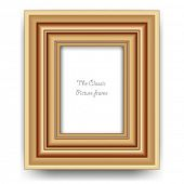 Photo frame vector. Empty wooden picture frame template