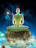 stock photo of kundalini  - Man meditating in an imaginary landscape - JPG
