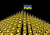 Pyramid of abstract people with Ukraine flag illustration