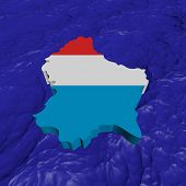 Luxembourg map flag in abstract ocean illustration