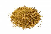 Heap of bee pollen on white background