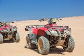 HURGHADA, EGYPT - APR 16: Quad trip on the desert near Hurghada on 16 April 2013. Desert safari is o