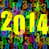 2014 new year illustration with numbers