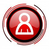 account red circle web glossy icon on white background
