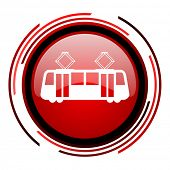 tram red circle web glossy icon on white background