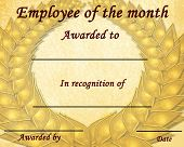 image of employee month  - employee of the month certificate with some stains - JPG