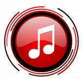 music red circle web glossy icon on white background