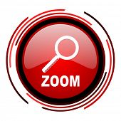 zoom red circle web glossy icon on white background