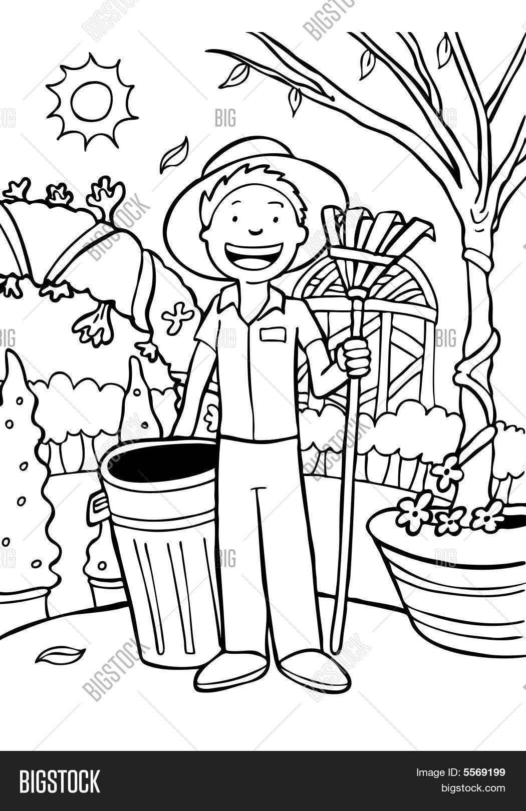 jardinier cartoon dessin au trait paysagiste avec la. Black Bedroom Furniture Sets. Home Design Ideas