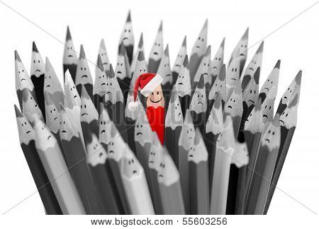 pencil with smile in Santa's Christmas hat among sad gray pencils