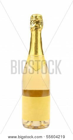 Goldish bottle of champagne.
