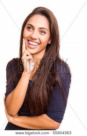 Beautful Mix Race Woman Thinking