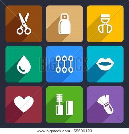 Cosmetics Perfume flat Icons Set 32