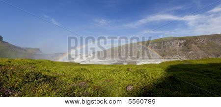 Double Rainbow Over Gullfoss Waterfall Iceland