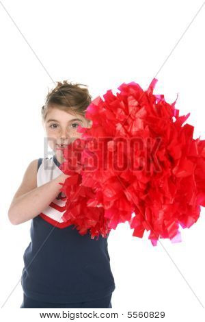 Big Red Cheerleader's Pompom Being Held By Cute Girl