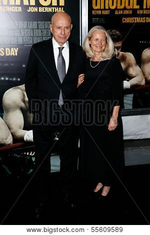 "NEW YORK-DEC 16: Actor Alan Arkin and wife Suzanne Newlander attend the world premiere of ""Grudge Match"" at the Ziegfeld Theatre on December 16, 2013 in New York City."
