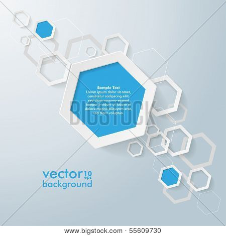 White And Blue Paper Hexagons Line