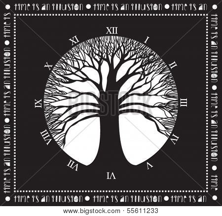 Tree of time - Monochromatic poster with wide naked tree and clock without handles: Time is an Illusion, concept art
