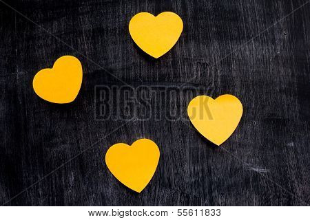 Heart Shaped Notes On Blackboard