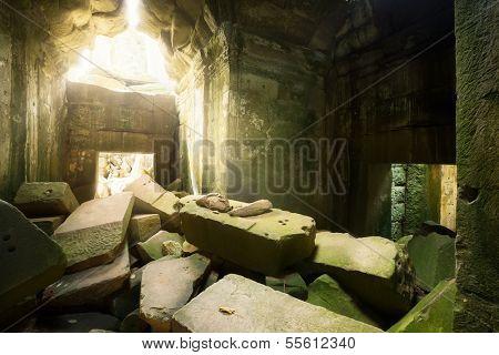 Ruins in Ta Prohm temple in Cambodia