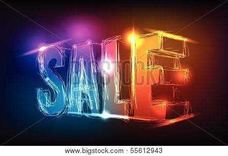 neon sale sign set