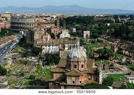 The Roman Forum And The Colosseo, Rome