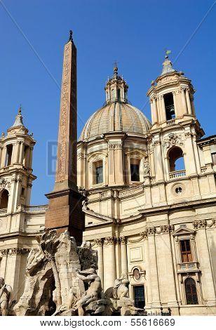 Fountain, Egyptian Obelisk And Church, Piazza Navona, Rome, Italy