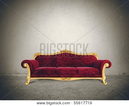 Success Concept With Comfortable Retro Sofa