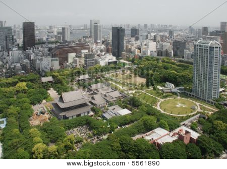 Aerial View Of Zojo-Ji Temple