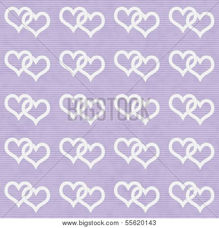 White Interwoven Hearts And Purple Thin Stripes Horizontal Textured Fabric Background