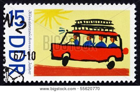 Postage Stamp Gdr 1967 Fire Truck, Children's Drawing