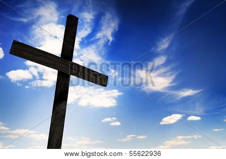 One cross on sky background