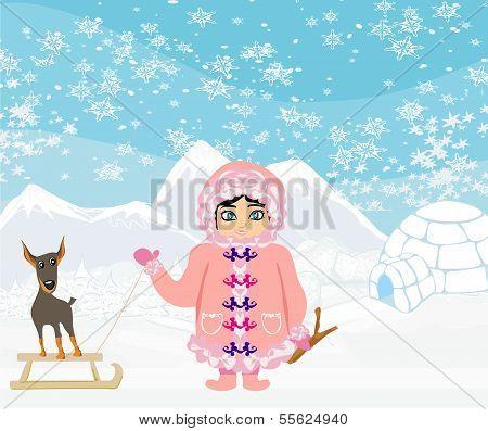 Eskimo Mädchen und ihr Hund