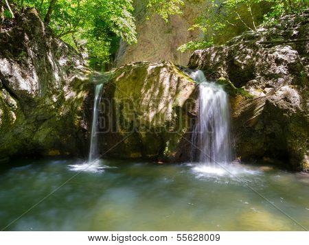 Waterfall in Crimea mountains