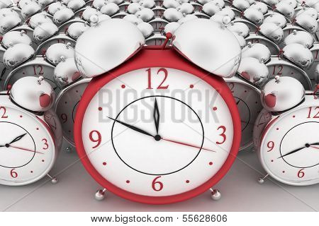 3d big red alarm clock and alarm clocks on white