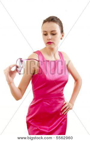 Girl Examine Sunglasses