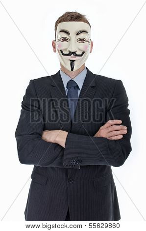 Man wearing v for vendetta mask isolated on white background