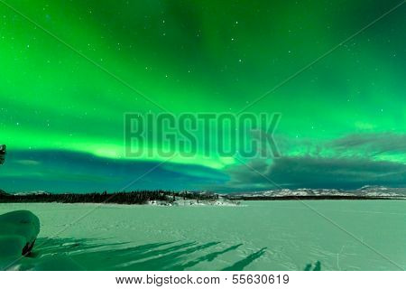 Intense Display Of Northern Lights Aurora Borealis