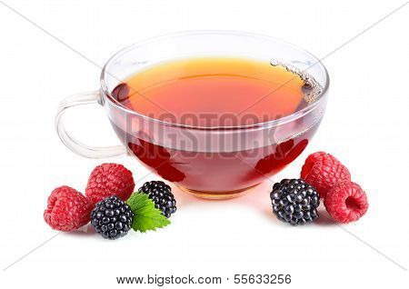 Cup Of Tea With Berries