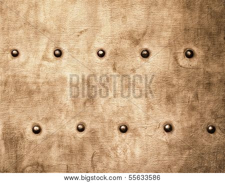 Grunge Gold Brown Metal Plate Rivets Screws Background Texture