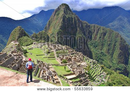 Tourists walk in Machu Picchu site