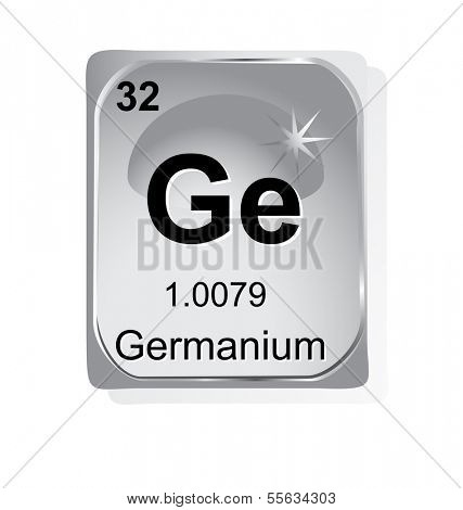 Germanium chemical element with atomic number, symbol and weight