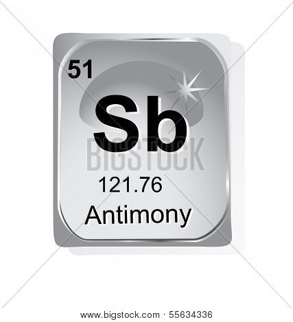 Antimony chemical element with atomic number, symbol and weight