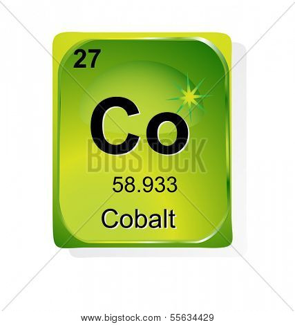 Cobalt  chemical element with atomic number, symbol and weight