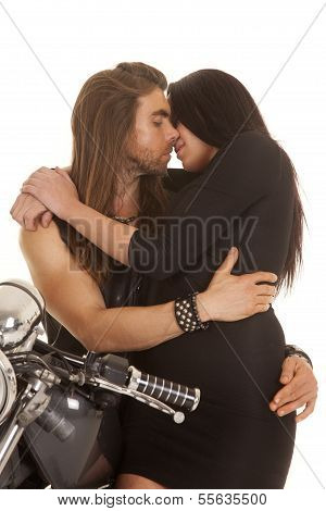 Couple Motorcycle Wear Black Almost To Kiss