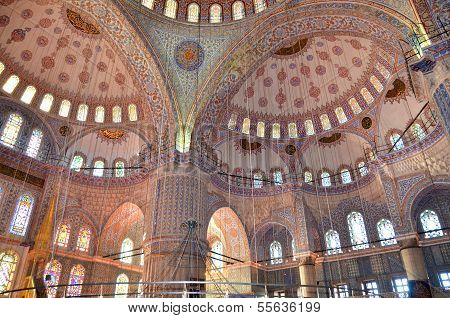 Interior of the Sultan Ahmed Mosque